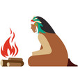 indian native character sitting near fire vector image vector image