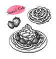 ink sketch funnel cake vector image vector image