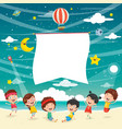 kids playing at beach vector image vector image