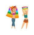 lesbian couple woman holding rainbow flags lgbt vector image