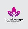 lotus and people yoga wellness logo template flat vector image