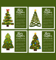 merry christmas happy new year poster set withtree vector image