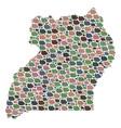 mosaic map of uganda of pebbles vector image