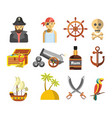 pirate colorful symbols on white flat vector image vector image