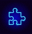 puzzle neon sign vector image vector image