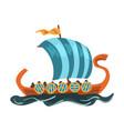 scandinavian draccar norway long boat with dragon vector image