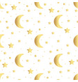 seamless pattern with gold stars and moon vector image vector image