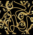 seamless pattern with golden baroque elements vector image vector image