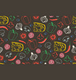 seamless pattern with the ingredients for pizza vector image