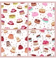 Seamless Patterns Set with Cakes Confectionery vector image
