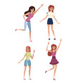 set happy woman in casual clothes with up vector image vector image