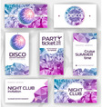 Set of geometric disco visiting card vector image
