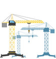 three tower cranes at different distances from vector image vector image