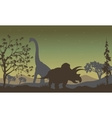 triceratopsand Brachiosaurus silhouette vector image vector image