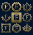 vintage monograms set of f letter vector image