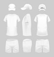 white t-shirt cap and shorts template in three vector image vector image