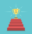 winner cup on steps vector image vector image