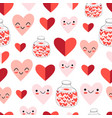 wonderful seamless festive pattern funny hearts vector image vector image