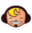 young boy with headphones on white background vector image vector image