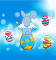 Happy easter eggs on with blue sky vector image