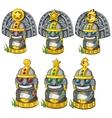Sculptures of tribal deities with precious stones vector image