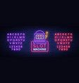 slot machine logo in neon style neon sign bright vector image