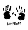 isolated black and white handprint vector image