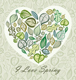 Spring card design with heart made of leaves vector image
