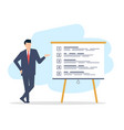 a young man in a suit is giving a presentation vector image