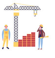 architect and foreman with blueprints crane vector image
