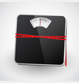 bathroom scale with a measuring tape vector image vector image