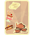 beautiful vintage card with a strawberry dessert vector image vector image