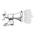 black bullhorns in man hand vector image vector image