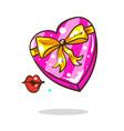cartoon blank pink heart shape box isolated vector image vector image