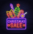 christmas sale neon sign new year banner logo vector image vector image