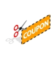 Coupon code icon isometric 3d style vector image vector image