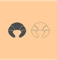 croissant dark grey set icon vector image vector image