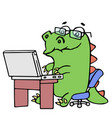 cute dinosaur working at the notebook vector image vector image