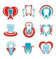 Dentistry tooth icons set vector image