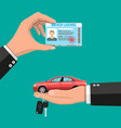 driver license in hand and sedan car with keys vector image