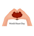 emblem of world heart day with two hands in the vector image