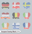 Europe Country Heart Labels and Icons vector image vector image