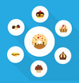 flat cake set of cupcake cake doughnut and other vector image vector image