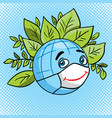 globe in leaves plants ecology earth day vector image