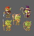 goblins characters set dungeon monster army vector image vector image