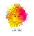 happy navratri with maa durga face on watercolor vector image