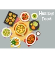 Healthy food dishes icon for lunch menu design vector image vector image