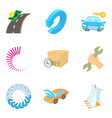 hijacking icons set cartoon style vector image vector image