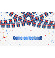 iceland garland flag with confetti on transparent vector image vector image