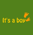 inscription it is a boy with footprint vector image vector image